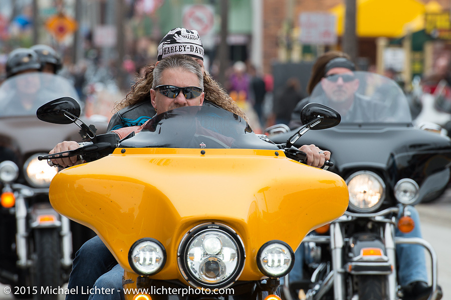 A cold start on Main Street for the first day of Daytona Beach Bike Week 2015. FL, USA. Saturday, March 7, 2015.  Photography ©2015 Michael Lichter.