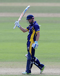 Durham's Phil Mustard celebrates his half century - Photo mandatory by-line: Harry Trump/JMP - Mobile: 07966 386802 - 29/07/15 - SPORT - CRICKET - Somerset v Durham - Royal London One Day Cup - The County Ground, Taunton, England.