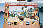 Mural in the historic downtown in Stuart, Florida. The tiny hamlet was founded in 1870 and was voted the Happiest Seaside Town in America by Coastal Living.