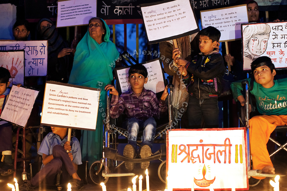 Disabled children attending Chingari Trust Rehabilitation Centre are demonstrating in Bhopal, city of the infamous 1984 gas tragedy, in Madhya Pradesh, central India, on the eve of the 29th anniversary since the disaster, on December 2, 2013. The poisonous cloud that enveloped Bhopal left everlasting consequences that today continue to consume people's lives.