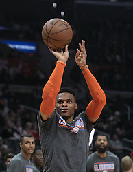March 8, 2019 - Los Angeles, California, United States of America - Russell Westbrook #0 of the Oklahoma Thunder during warm-ups prior to their NBA game with the Los Angeles Clippers on Friday March 8, 2019 at the Staples Center in Los Angeles, California. Clippers defeat Thunder, 118-110.  JAVIER ROJAS/PI (Credit Image: © Prensa Internacional via ZUMA Wire)