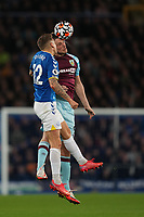 Football - 2021 / 2021 Premier League - Everton vs Burnley - Goodison Park - Monday 13th September 2021<br /> <br /> <br /> Everton's Lucas Digne vies for possession with Burnley's Chris wood<br /> <br /> <br /> <br /> Credit COLORSPORT/Terry Donnelly