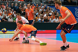 11-08-2019 NED: FIVB Tokyo Volleyball Qualification 2019 / Netherlands - USA, Rotterdam<br /> Final match pool B in hall Ahoy between Netherlands vs. United States (1-3) and Olympic ticket  for USA / Maarten van Garderen #3 of Netherlands, Robbert Andringa #18 of Netherlands