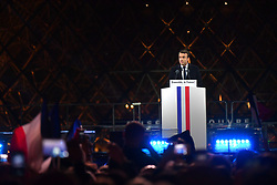 Emmanuel Macron delivers his speech after winning the French presidential election, at the Louvre Pyramid in Paris, France on May 7, 2017. Macron, a 39-year-old pro-business centrist, defeated Marine Le Pen, a far-right nationalist who called for France to exit the European Union, by a margin of 65.5 % to 34.1%, becoming the youngest president in France's history. Photo by Christian Liewig/ABACAPRESS.COM