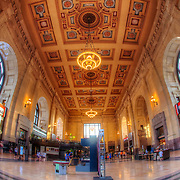 Fisheye photo of the interior of Union Station during the 2012 Celebration At The Station Memorial Day concert outside - Kansas City, Missouri.