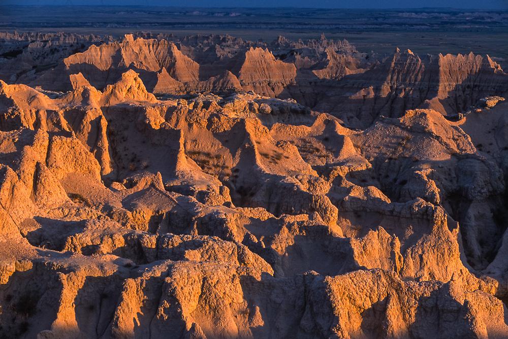 View from The Pinnacles, evening light, Badlands National Park, South Dakota, USA