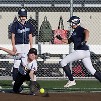 (Photograph by Bill Gerth/ for SVCN/ 3/14/17) Monta Vista #15 Sara Nordby makes the catch at first base as Branham #7 Ashley Harris is out in a pre season girls varsity softball game at Monta Vista High School, Cupertino CA on 3/14/17. (Monta Vista 7 Branham 3)