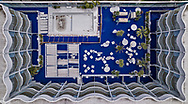 Aerial view of the famed blue astroturf and pool area at the Standard Hotel in West Hollywood. The Standard opened in 1999 with the financial support of Leonardo DiCaprio, Cameron Diaz and Benicio del Toro and Smashing Pumpkins band members, D'arcy Wretzky and James Iha.The hotel shut its doors on January 22, 2021 after 22 years on the Sunset Strip. The Covid pandemic wrecked havoc on the hotel and tourism industry in Los Angeles.