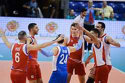September 12, 2018 - Varna, Bulgaria - The team of Puerto Rico celebrates after win a point against Iran, during Iran vs Puerto Rico, pool D, during 2018 FIVB Volleyball Men's World Championship Italy-Bulgaria 2018, Varna, Bulgaria on September 12, 2018  (Credit Image: © Hristo Rusev/NurPhoto/ZUMA Press)