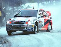Motorsport. Rally Hokksund 8. januar 2000. Henning Solberg og Runar Pedersen satset friskt i Rally Hokksund med sin Ford Escort WRC, men endte opp med 2. plass etter Roar Vannebo. Foto: Digitalsport, Jan A. Holshagen