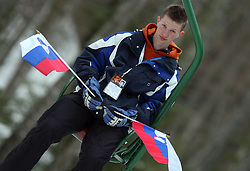 Slovenian fan at Flying Hill Individual in 2nd day of 32nd World Cup Competition of FIS World Cup Ski Jumping Final in Planica, Slovenia, on March 20, 2009. (Photo by Vid Ponikvar / Sportida)