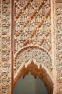 The arabesque  plasterwork  of the Saadian Tombs the 16th century mausoleum of the Saadian rulers, Marrakech, Morroco .<br /> <br /> Visit our MOROCCO HISTORIC PLAXES PHOTO COLLECTIONS for more   photos  to download or buy as prints https://funkystock.photoshelter.com/gallery-collection/Morocco-Pictures-Photos-and-Images/C0000ds6t1_cvhPo<br /> .<br /> <br /> Visit our ISLAMIC HISTORICAL PLACES PHOTO COLLECTIONS for more photos to download or buy as wall art prints https://funkystock.photoshelter.com/gallery-collection/Islam-Islamic-Historic-Places-Architecture-Pictures-Images-of/C0000n7SGOHt9XWI