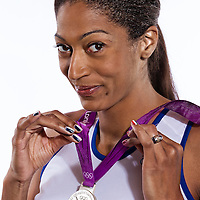 14 August 2012:  Olympic Silver Medalist Emmeline Ndongue (Team France Basketball) poses with her silver medal, at the Hotel Concorde Lafayette, in Paris, France.
