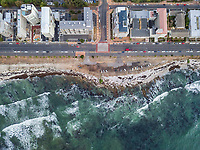 Aerial view of coastal road and residential buildings, Mouille Point, Cape Town.