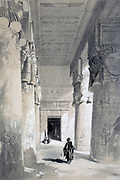 Temple of Dendera', 1845. Lithograph after Henry Pilleau (1813-1899) English artist. Hippostyle hall of the Temple of Hathor, mother goddes of Ancient Egypt. Archaeology Architecture Religion Mythology