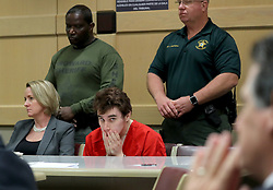 May 1, 2019 - Fort Lauderdale, Florida, U.S. - Parkland school shooting suspect Nikolas Cruz in court at the Broward Courthouse in Fort Lauderdale, Fla. on Wednesday, May 1, 2019 for motion by the Public Defender's Office to withdraw from the case due to Cruz receiving an inheritance that can be used to pay for a private attorney. (Credit Image: © TNS via ZUMA Wire)