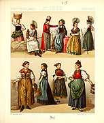 Ancient Swiss fashion and lifestyle, 18th century from Geschichte des kostums in chronologischer entwicklung (History of the costume in chronological development) by Racinet, A. (Auguste), 1825-1893. and Rosenberg, Adolf, 1850-1906, Volume 5 printed in Berlin in 1888