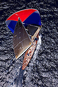 Velsheda sailing in the Butterfly Race at the Antigua Classic Yacht Regatta.