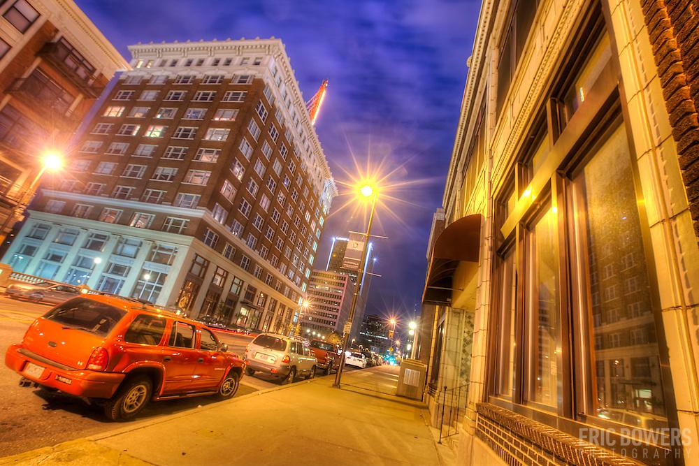Looking south down Grand Avenue near the Western Auto Lofts building, downtown Kansas City, Missouri.