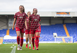 BIRKENHEAD, ENGLAND - Sunday, August 29, 2021: Liverpool's Rianna Dean and Charlotte Wardlaw during the pre-match warm-up before the FA Women's Championship game between Liverpool FC Women and London City Lionesses FC at Prenton Park. London City won 1-0. (Pic by Paul Currie/Propaganda)