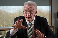 23 MAR 2012, BERLIN/GERMANY:<br /> Winfried Kretschmann, B90/Gruene, Ministerpraesident  Baden-Wuerttemberg, waehrend einem Interview,Landesvertertung Baden-Wuerttemberg<br /> IMAGE: 20120323-03-010
