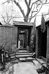 Entrance to an old house in a hutong in Beijing China