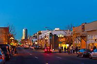 Looking down Santa Fe Drive at twilight, the Art District on Santa Fe, Denver, Colorado USA