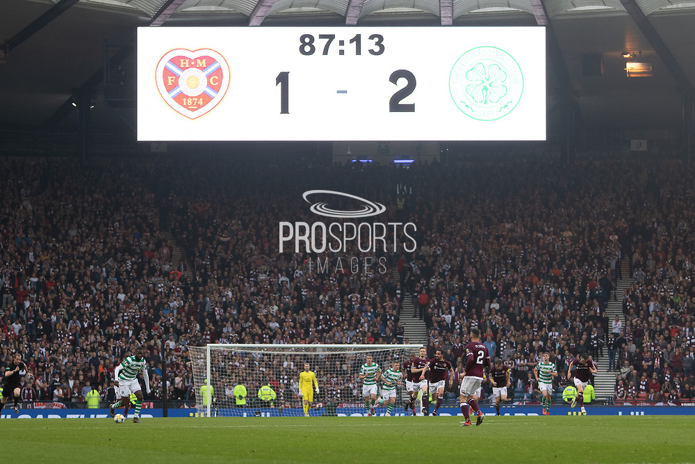 The scoreboard says it all during the William Hill Scottish Cup Final match between Heart of Midlothian and Celtic at Hampden Park, Glasgow, United Kingdom on 25 May 2019.