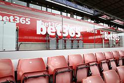 A general view of bet365 branding inside the bet365 Stadium