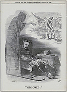 Arthur James Balfour, lst Earl Balfour (1848-1930) when Secretary of Ireland (1887-1891) dreaming of the spectre of the Potato Famine pointing to the suffering in Ireland. Cartoon by John Tenniel from 'Punch', London, 30 August 1890.