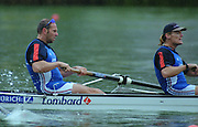 Lucerne, SWITZERLAND, GBR M4- left  Steve REDGRAVE and Tim FOSTER.   2000 FISA World Cup, Rotsee Rowing Course, June 2000.  [Mandatory Credit, Peter Spurrier/Intersport-images] 2000 FISA World Cup, Lucerne, SWITZERLAND