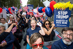 © Licensed to London News Pictures. FILE PICTURE: 21/09/2016. London, UK.  ANTONIA STAATS (centre) joins Campaign group Avaaz organise a 'Stop Trump' campaign bus to tour central London, rallying US expats to register to vote. Antonia Staats has reportedly been in a relationship with Government scientist Neil Ferguson, which involved the breaking of lockdown rules. Photo credit : Tom Nicholson/LNP