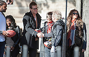 05 November 2012:  Patriots Quarterback Tom Brady greets the band Aerosmith before they play a free concert in front of the building (1325 Commonwealth Avenue ) where band members once lived.  Boston, MA. ***Editorial Use Only*****
