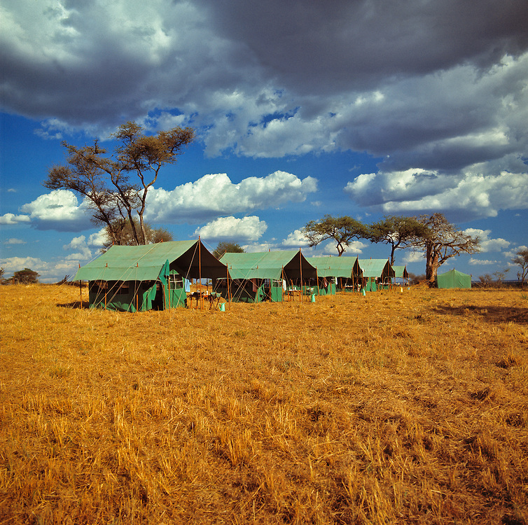 This safari tent camp is striking against the golden earth and stormy sky in Serengeti National Park, Tanzania.