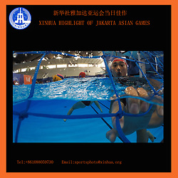 XINHUA HIGHLIGHT OF JAKARTA ASIAN GAMES TRANSMITTED ON Aug. 18, 2018...China's player practises prior to the women's water polo Group A match between China and Japan of the 18th Asian Games in Jakarta, Indonesia on Aug. 17, 2018.  hy) (Credit Image: © Fei Maohua/Xinhua via ZUMA Wire)