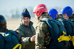 Uros Ban during Slovenian army Special Forces training of parachuting, on March 10, 2015 in Airport Lesce, Slovenia. Photo by Vid Ponikvar / Sportida
