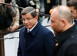 Turkish Prime Minister Ahmet Davutoglu (L) arrives on the second day of a two-day European Union leaders summit at the EU Council headquarters in Brussels, Belgium, March 18, 2016. EXPA Pictures © 2016, PhotoCredit: EXPA/ Photoshot/ Ye Pingfan<br /> <br /> *****ATTENTION - for AUT, SLO, CRO, SRB, BIH, MAZ, SUI only*****