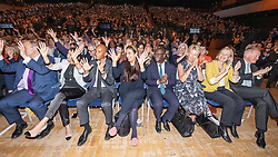 © Licensed to London News Pictures . 17/09/2019. Bournemouth, UK. Applause for the signers from the front row , including ED DAVEY, JANE DODDS, CHUKA UMUNNA , LUCIANA BURGER , SAM GYIMAH , ANGELA SMITH , SARAH WOLLASTON and DR PHILLIP LEE ahead of the Leader's Speech on the final day of the Liberal Democrat Party Conference at the Bournemouth International Centre . Photo credit: Joel Goodman/LNP