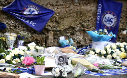 Tributes left for the late Ray Wilkins outside the ground prior to kick-off during the Premier League match at Stamford Bridge, London.