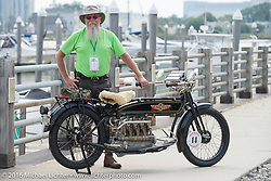 Vern Acres of Ontario, Canada with his 4-cylinder 1914 Henderson class-2 motorcycle before the start of the Motorcycle Cannonball Race of the Century Run. Atlantic City, NJ, USA. September 9, 2016. Photography ©2016 Michael Lichter.