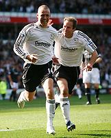 Photo: Steve Bond.<br />Derby County v Bolton Wanderers. The FA Barclays Premiership. 29/09/2007. Kenny Miller celebrates with Eddie Lewis (R)