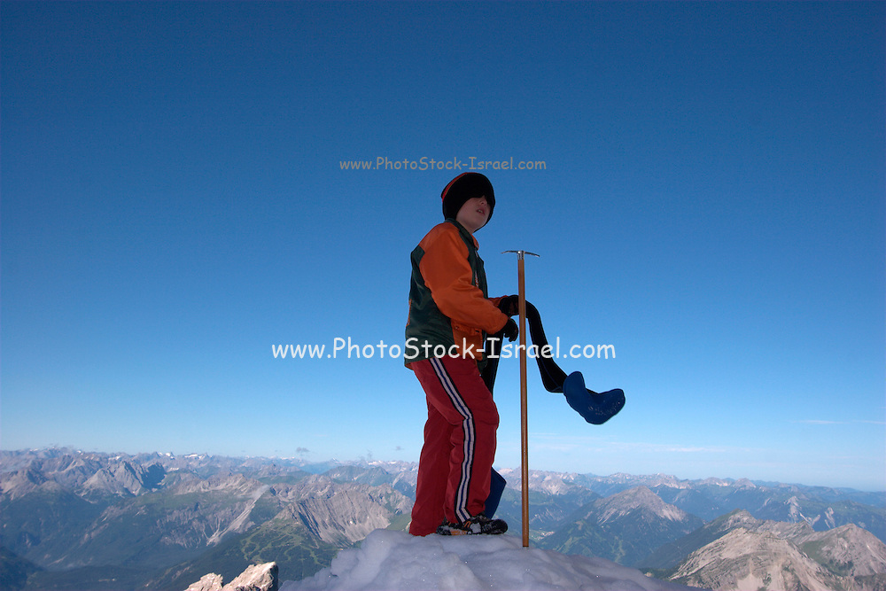 Austria, Tyrol, Reutte, Lermoos, Zugspitze Mountain skiing resort August 2008 Model Release available
