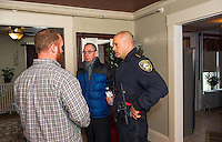 Program Director Michael Metz gives a tour and explains the program offered in The Launch House at Riverbank with Commissioner Armand Maheux and Chief Chris Adams during their Open House on Friday afternoon.  (Karen Bobotas/for the Laconia Daily Sun)