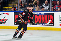 KELOWNA, BC - FEBRUARY 17: Riley Stotts #18 of the Calgary Hitmen skates against the Kelowna Rockets at Prospera Place on February 17, 2020 in Kelowna, Canada. Stotts was selected in the 2018 NHL entry draft by the Toronto Maple Leafs. (Photo by Marissa Baecker/Shoot the Breeze)