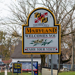 Marydel, DE, USA - November 9, 2014: The Welcome  to Maryland Sign near the Delaware border.