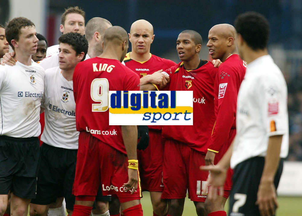 Photo: Chris Ratcliffe.<br />Luton Town v Watford. Coca Cola Championship.<br />02/01/2006.<br />Tempers fray in the derby after Ashley Young (3rd, R) kicks out at Kevin Foley.