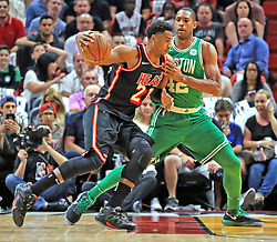 November 22, 2017 - Miami, FL, USA - The Miami Heat's Hassan Whiteside (21) goes up against the Boston Celtics' Al Horford (42) in the first quarter at the AmericanAirlines Arena in Miami on Wednesday, Nov. 22, 2017. (Credit Image: © Al Diaz/TNS via ZUMA Wire)