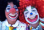 Image of happy clowns at Bumbershoot Festival in Seattle, Washington, Pacific Northwest, model released by Randy Wells