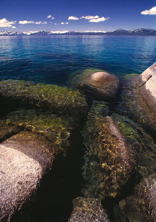 Lake Tahoe Landscape, Lake Tahoe Clear Water Rocks and Shoreline Lake Tahoe