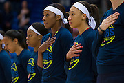 Aerial Powers of the Dallas Wings looks on during the National Anthem before tipoff against the Connecticut Sun during a WNBA preseason game in Arlington, Texas on May 8, 2016.  (Cooper Neill for The New York Times)